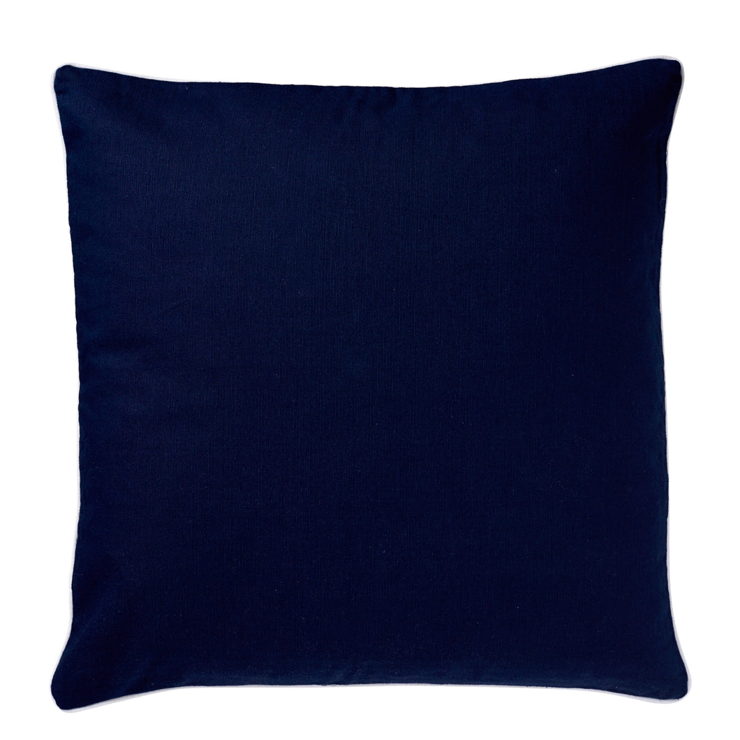 Navy Cushion With White Piping 50x50cm
