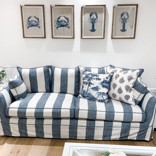 Cape Cod 3 Seater Sofa In Blue & Off-White Stripe (With Slip Cover)  Furniture nz