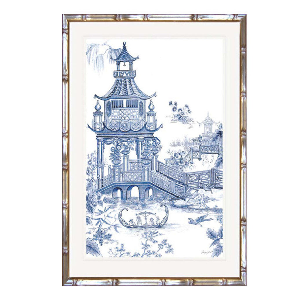 Willow Pattern Garden In Faux Bamboo Timber Frame 64x84cm Homewares nz