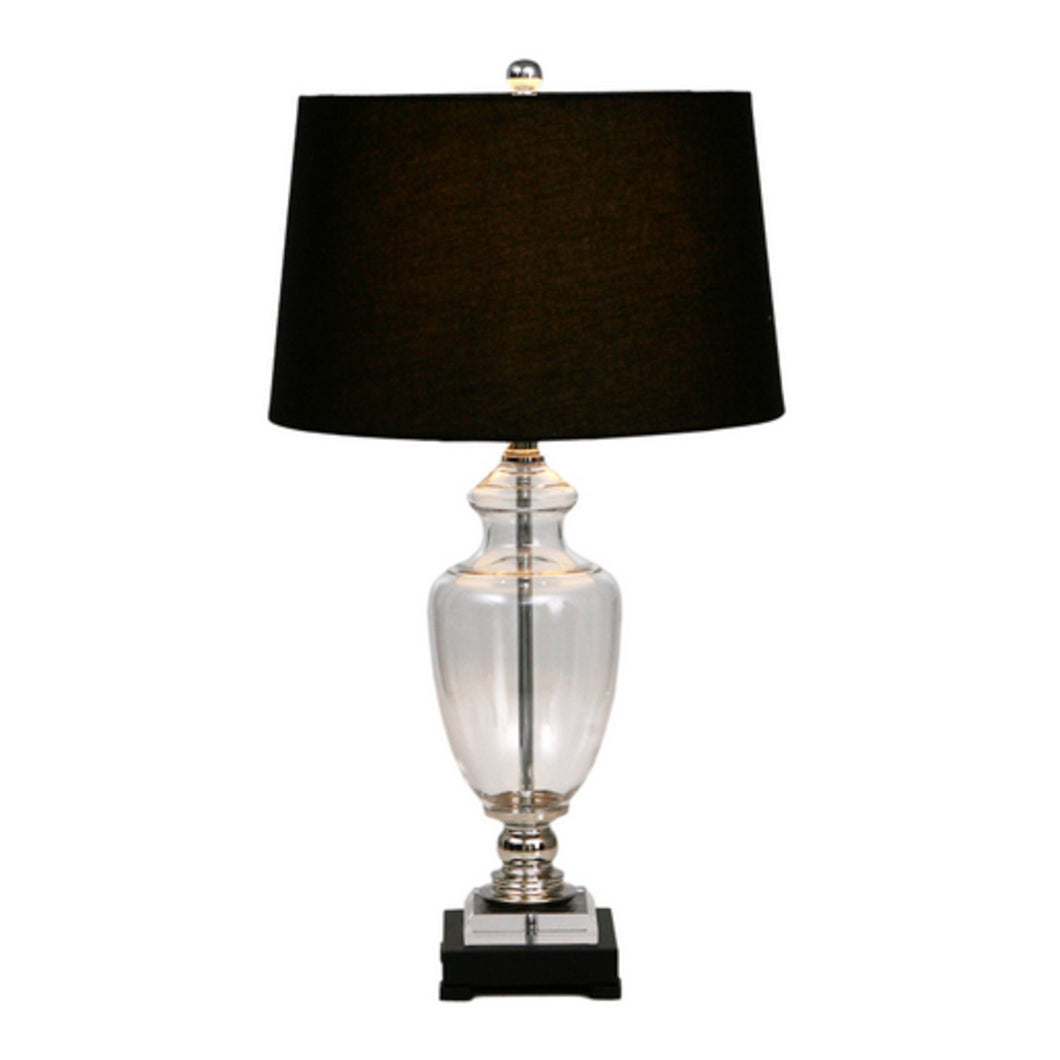 Black Glass Lamp With Black Shade Homewares nz