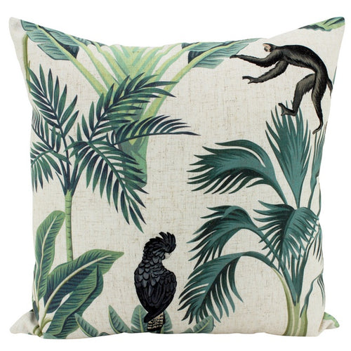 Jungle Friends Linen Cushion 50x50cm