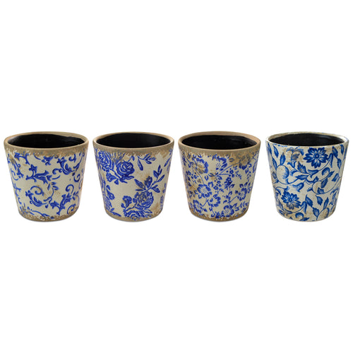 Blue Leaf Planter Pot 14x13cm (Assorted) Homewares nz