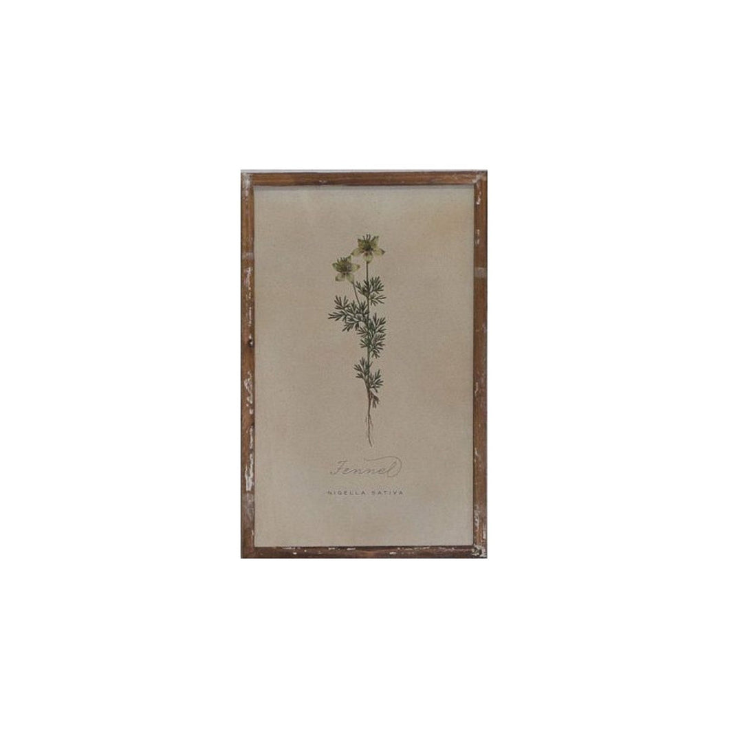 Fennel Print In Washed Wooden Frame  Homewares nz
