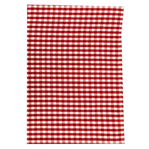 Gingham Check Cotton Tea Towel 50x70cm - Red & White
