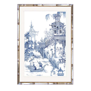 Willow Pattern Garden View Print In Faux Bamboo Timber Frame