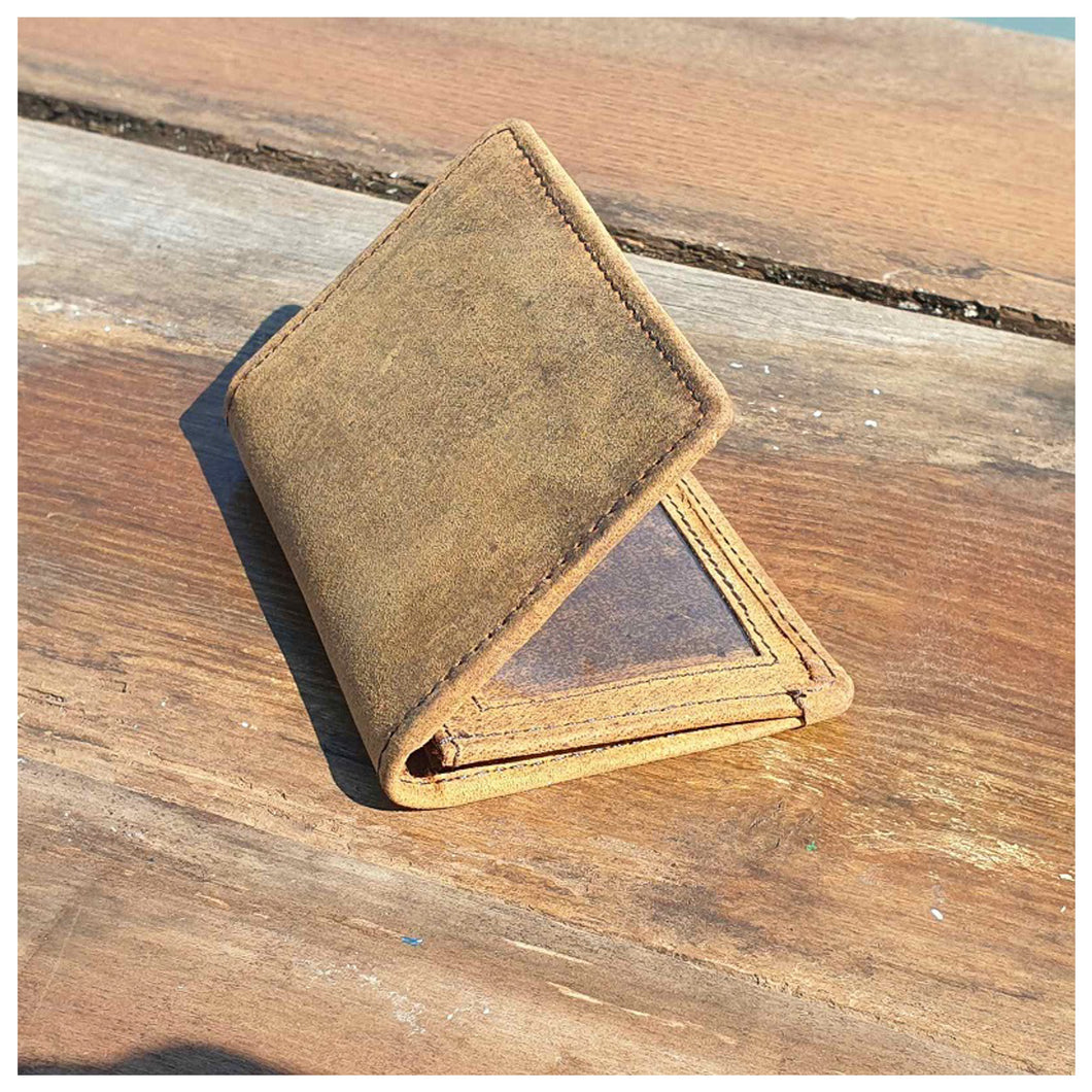 Cree Buffalo Leather Card Holder Wallet - Brown