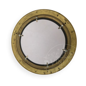 Brass Finish Porthole Mirror 25cm