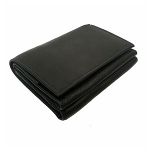 Kane Trifold Cowhide Leather Wallet - Black