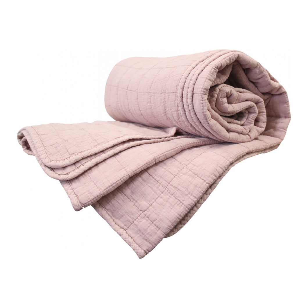 Quilted Square Throw - Pink  Homewares nz