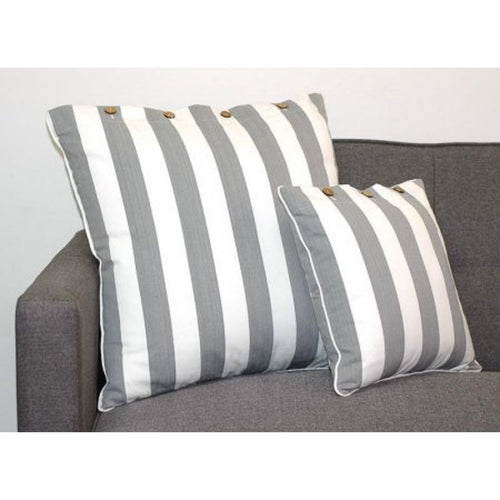 Amalfi Scatter Cushion 40x40cm - Grey & White Stripe  Homewares nz