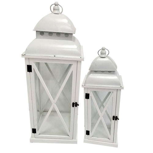 Port Lanterns White Wash - Large