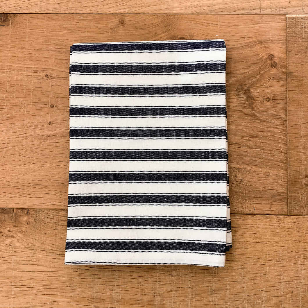 Attic Stripe Cotton Tea Towel 50x70cm - Black & White