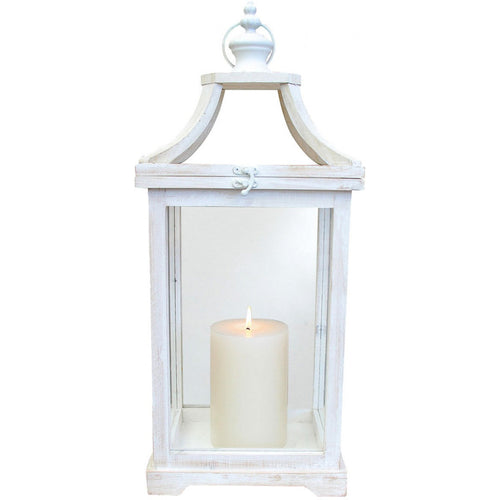 Open Pane White Washed Rectangle Lantern 62cm
