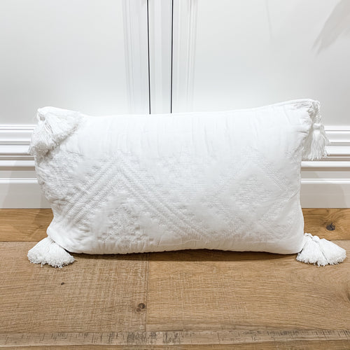 Gloria Tassel White Cushion 40x60cm