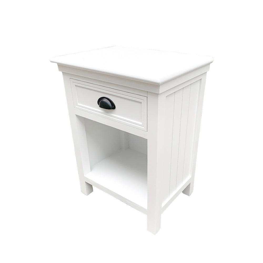 Hamptons 1 Drawer Bedside Table - White Furniture nz