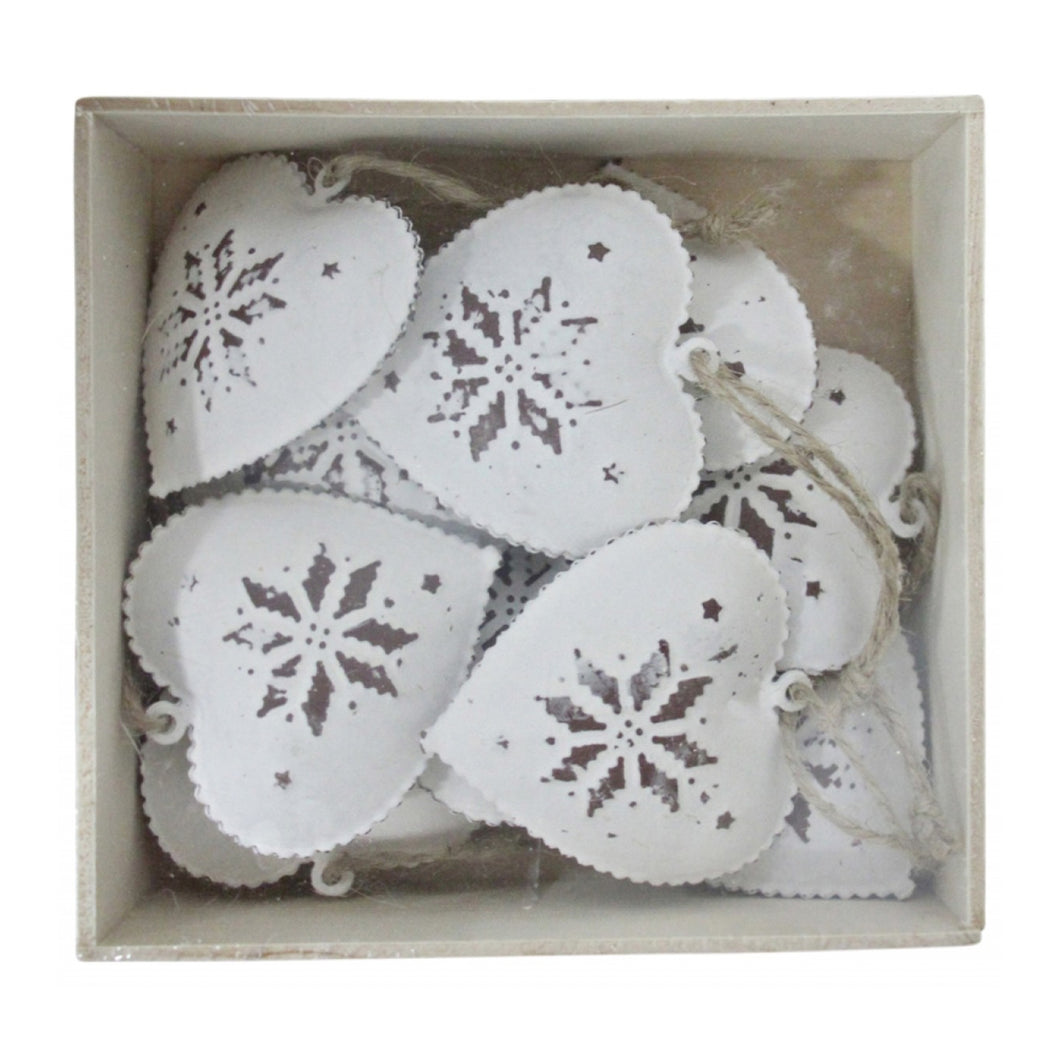 Box of Heart Decorations - White  Homewares nz