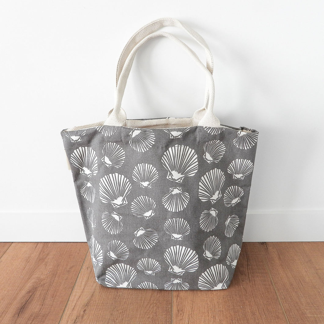 Shell Canvas Tote Bag With Purse - Grey & White Homewares nz