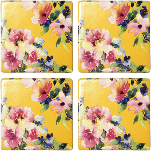 Set Of 4 Sunshine Floral Coasters