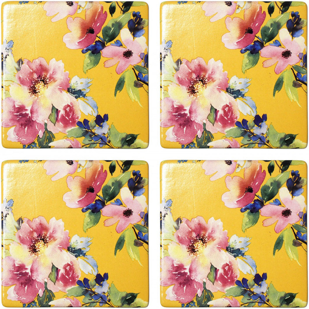 Set Of 4 Sunshine Floral Coasters  Homewares nz