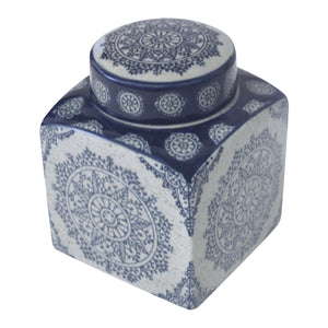 Flake Square Motif Canister 13cm - Navy  Homewares nz