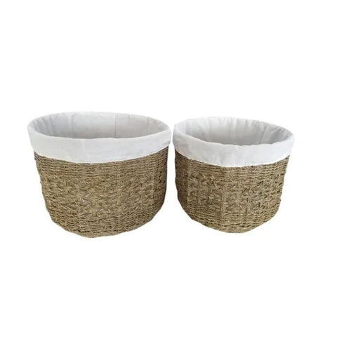Round Sea Grass Bulb Basket With Cotton Lining 32cm - Small