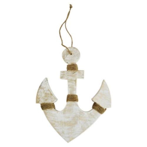 White Washed Anchor Wood Sculpture 31cm - Large