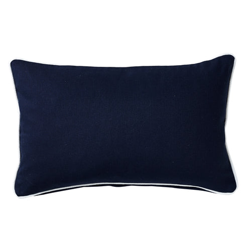 Navy Cushion With White Piping 30x50cm