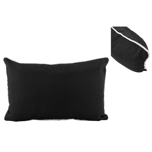 Black Outdoor Lumbar Cushion With White Piping 30x50cm Homewares nz