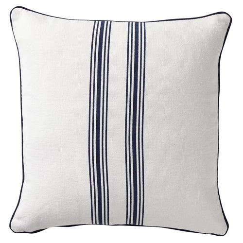 Striped Cushion With Piping 50x50cm - Navy & White Homewares nz
