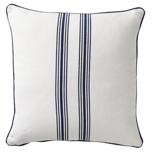 Striped Cushion With Piping 50x50cm - Navy & White