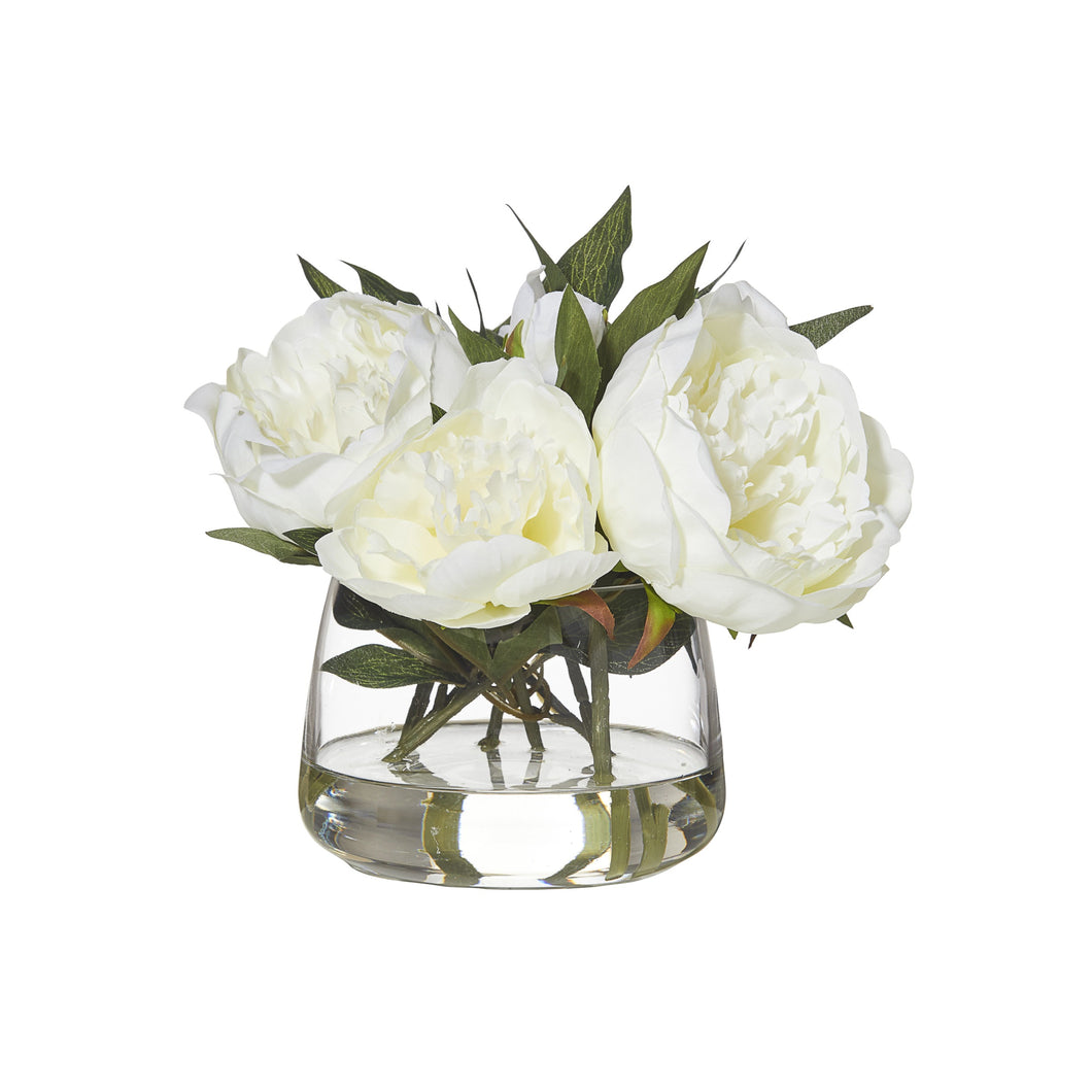 Peony In Rounded Bowl 28cm - White Homewares nz