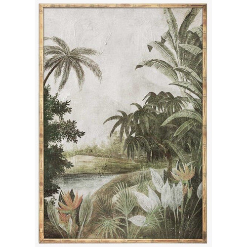 Jungle On The River In Timber Frame 70x100cm  Homewares nz