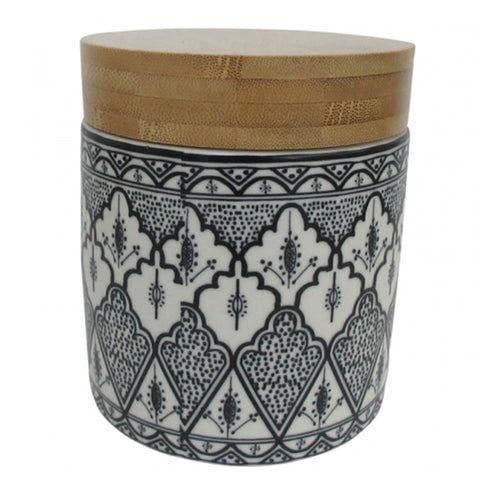 Aleah Ceramic Canister With Wooden Lid 12cm - Small  Homewares nz