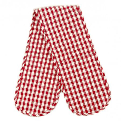 Gingham Check Double Oven Mitt - Red Homewares nz