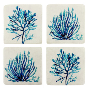 Set Of 4 Blue & White Coral Resin Coasters