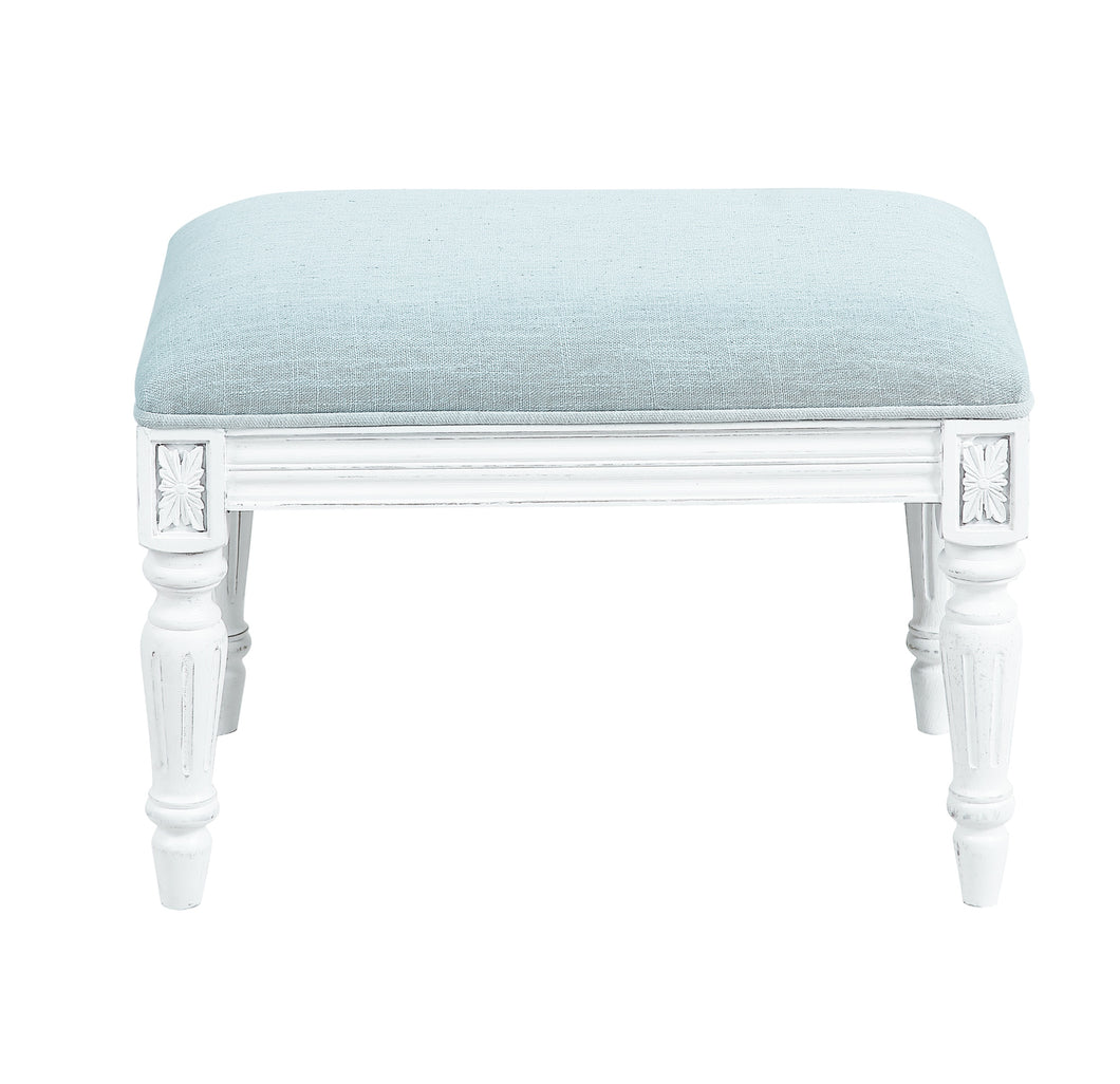 Provincial Pouffe Footstool - Ice Blue / White Legs  Furniture nz