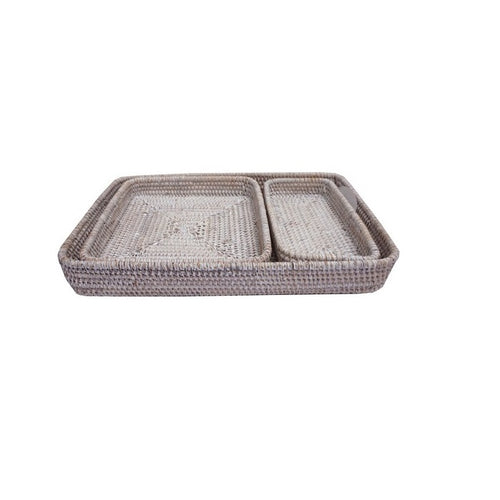 Rectangle White Wash Rattan Tray - Small Homewares nz