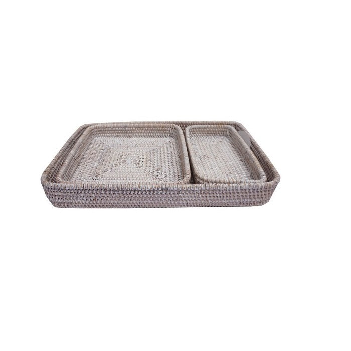 Rectangle White Wash Rattan Tray - Small