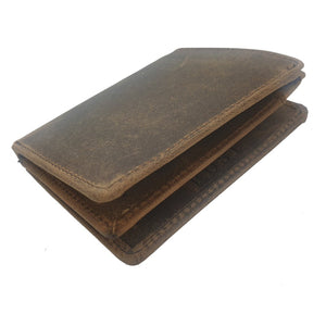 Rogue Buffalo Leather Double Fold Wallet - Brown Homewares nz