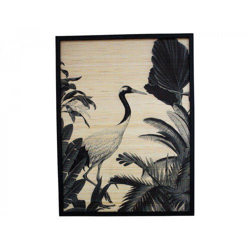 Black Stork On Bamboo In Black Frame  Homewares nz