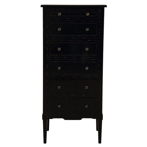 Parisian 6 Drawer Tallboy - Gloss Black Furniture nz