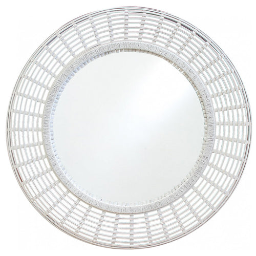 Bamboo Mirror 101cm - White  Homewares nz