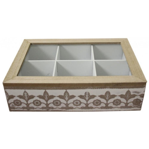 Wooden 6 Slot Tea Box With White Lace Pattern