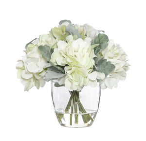 Hydrangea Bouquet Mix ­In Glass Pot 22cm - White  Homewares nz