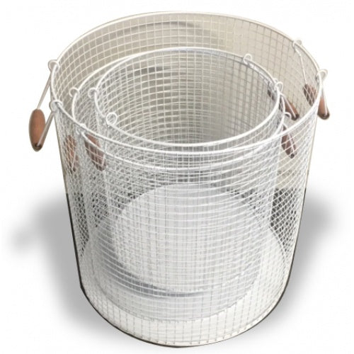 White Round Wire Basket With Wood Handles 28cm - Small