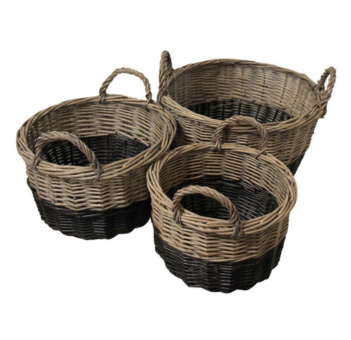 Natural & Black Dipped Basket With Handle - Large  Homewares nz