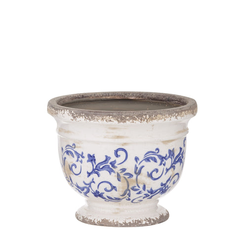 Fleur Footed Bowl 18cm - Blue & White Homewares nz