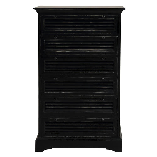Riviera 6 Drawer Tallboy Chest - Black  Furniture nz