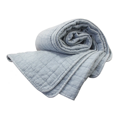 Quilted Square Throw - Sky  Homewares nz