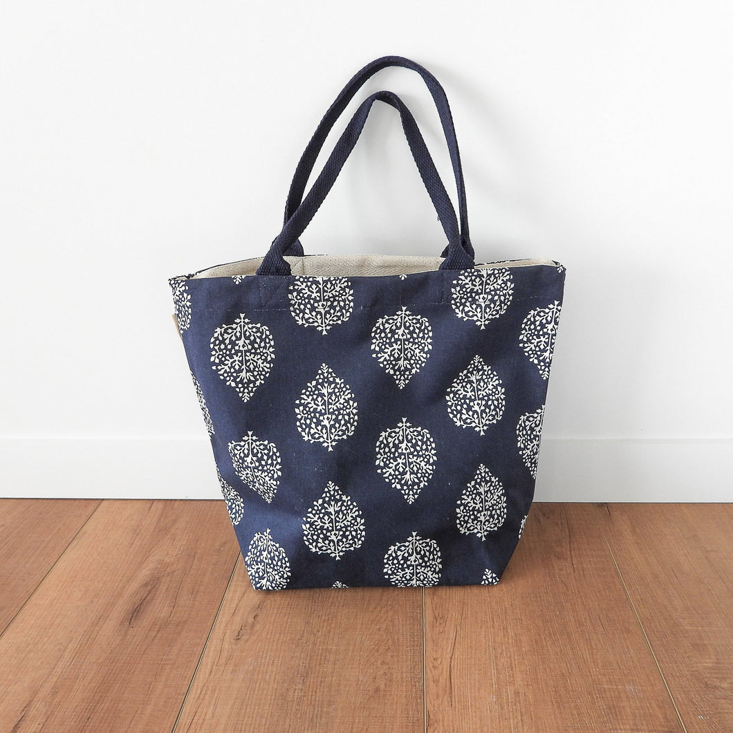 Avalon Canvas Tote Bag With Purse - Navy & White  Homewares nz